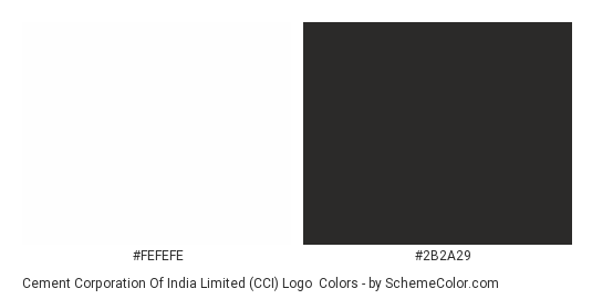 Cement Corporation of India Limited (CCI) Logo - Color scheme palette thumbnail - #fefefe #2b2a29