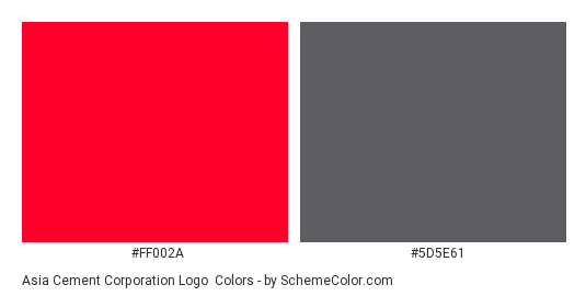 Asia Cement Corporation Logo - Color scheme palette thumbnail - #ff002a #5d5e61