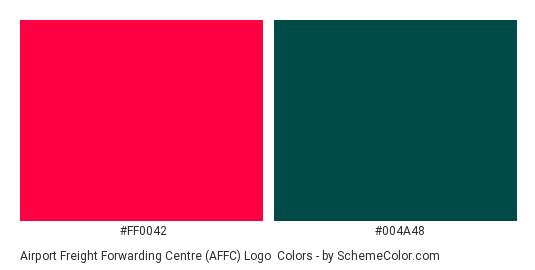Airport Freight Forwarding Centre (AFFC) Logo - Color scheme palette thumbnail - #ff0042 #004a48