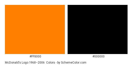 McDonald's Logo 1968–2006 - Color scheme palette thumbnail - #ff8000 #000000