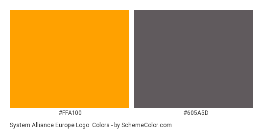 System Alliance Europe Logo - Color scheme palette thumbnail - #ffa100 #605a5d