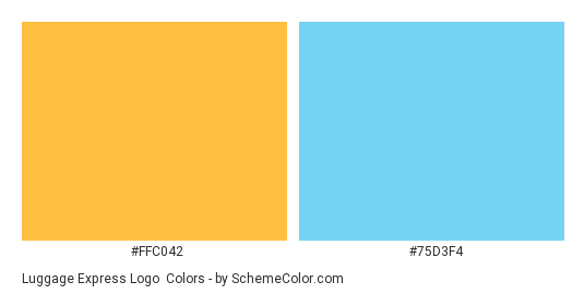 Luggage Express logo - Color scheme palette thumbnail - #ffc042 #75d3f4