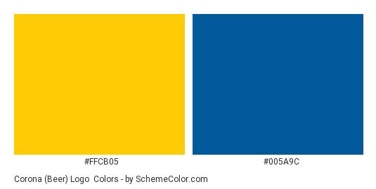 Corona (Beer) Logo - Color scheme palette thumbnail - #ffcb05 #005a9c