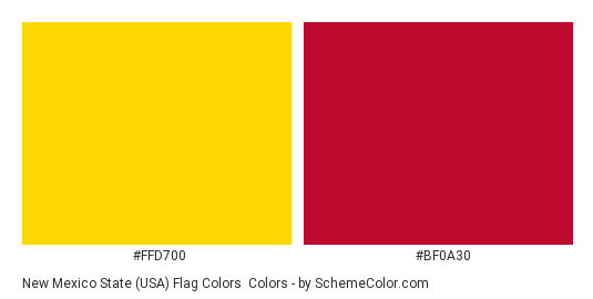 New Mexico State (USA) Flag Colors - Color scheme palette thumbnail - #ffd700 #bf0a30