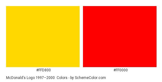 McDonald's Logo 1997–2000 - Color scheme palette thumbnail - #ffd800 #ff0000