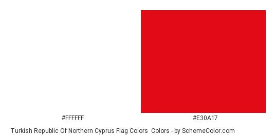 Turkish Republic of Northern Cyprus Flag Colors - Color scheme palette thumbnail - #ffffff #e30a17