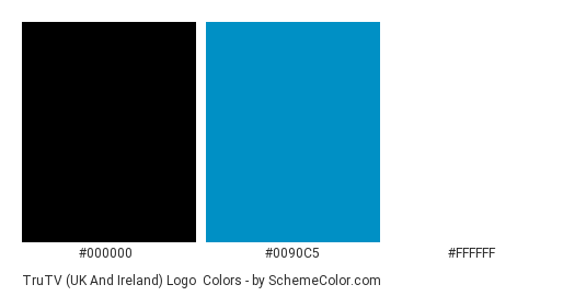 truTV (UK and Ireland) Logo - Color scheme palette thumbnail - #000000 #0090c5 #ffffff