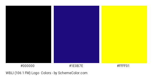 WBLI (106.1 FM) Logo - Color scheme palette thumbnail - #000000 #1e0b7e #ffff01