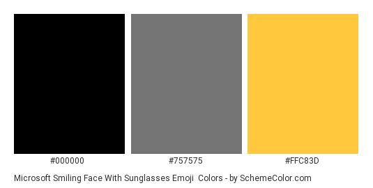 Microsoft Smiling Face With Sunglasses Emoji - Color scheme palette thumbnail - #000000 #757575 #ffc83d