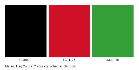 Malawi Flag Colors - Color scheme palette thumbnail - #000000 #ce1126 #339e35