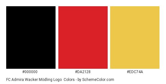 FC Admira Wacker Mödling Logo - Color scheme palette thumbnail - #000000 #da2128 #edc74a