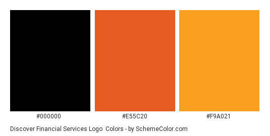 Discover Financial Services Logo - Color scheme palette thumbnail - #000000 #e55c20 #f9a021
