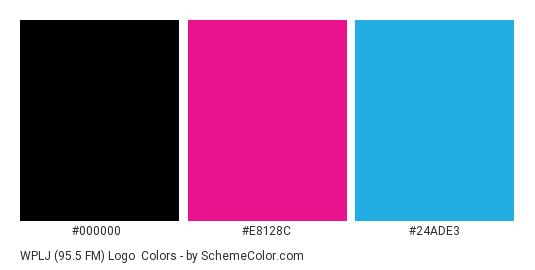 WPLJ (95.5 FM) Logo - Color scheme palette thumbnail - #000000 #e8128c #24ade3