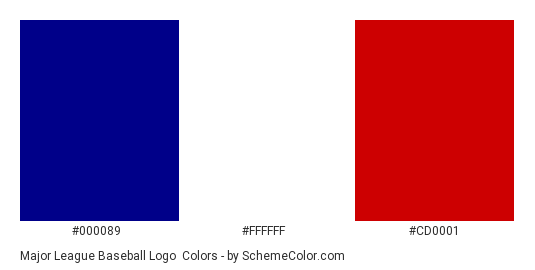 Major League Baseball Logo - Color scheme palette thumbnail - #000089 #ffffff #cd0001