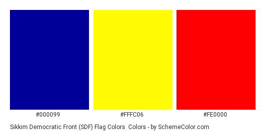 Sikkim Democratic Front (SDF) Flag Colors - Color scheme palette thumbnail - #000099 #fffc06 #fe0000