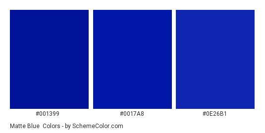 Matte Blue - Color scheme palette thumbnail - #001399 #0017a8 #0e26b1