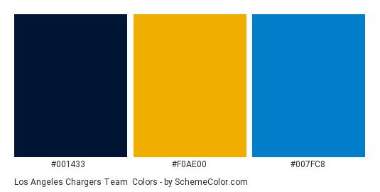 Los Angeles Chargers Team - Color scheme palette thumbnail - #001433 #f0ae00 #007fc8
