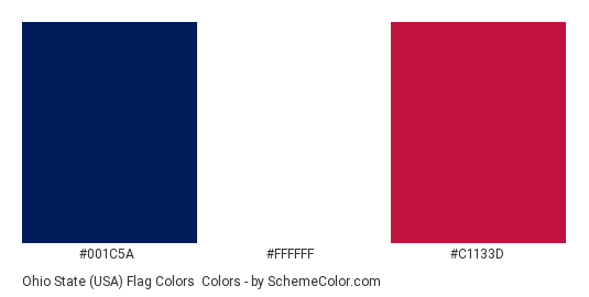 Ohio State (USA) Flag Colors - Color scheme palette thumbnail - #001c5a #ffffff #c1133d