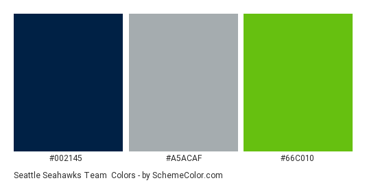 Seattle Seahawks Team - Color scheme palette thumbnail - #002145 #a5acaf #66c010