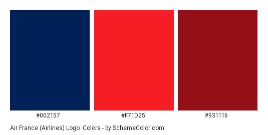 Air France (Airlines) Logo - Color scheme palette thumbnail - #002157 #F71D25 #931116