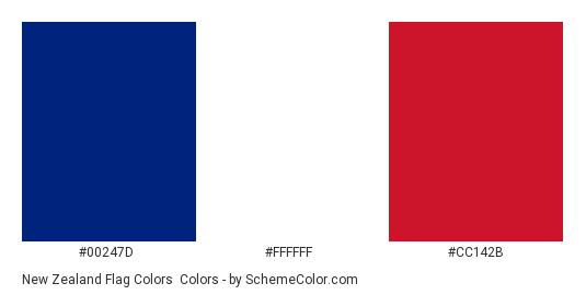 New Zealand Flag Colors - Color scheme palette thumbnail - #00247d #ffffff #cc142b