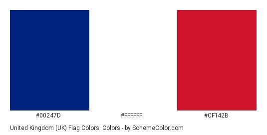 United Kingdom UK Flag Colors