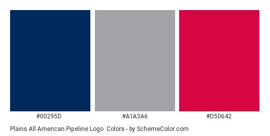 Plains All American Pipeline Logo - Color scheme palette thumbnail - #00295d #a1a3a6 #d50642