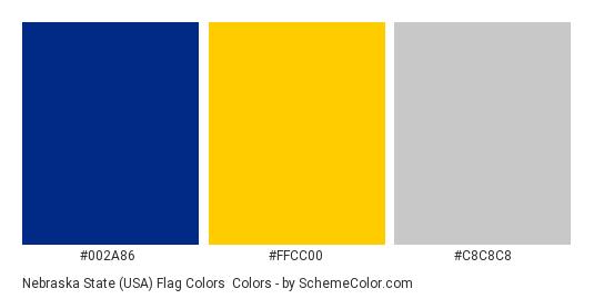 Nebraska State (USA) Flag Colors - Color scheme palette thumbnail - #002a86 #ffcc00 #c8c8c8