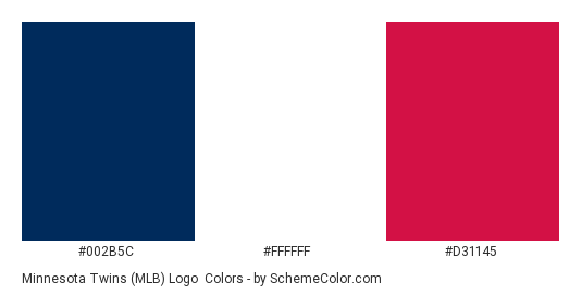Minnesota Twins (MLB) Logo - Color scheme palette thumbnail - #002b5c #ffffff #d31145