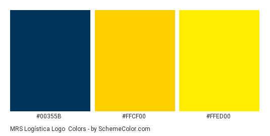 MRS Logística Logo - Color scheme palette thumbnail - #00355b #ffcf00 #ffed00