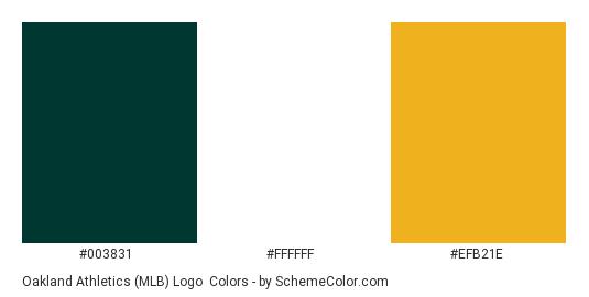 Oakland Athletics (MLB) Logo - Color scheme palette thumbnail - #003831 #ffffff #efb21e