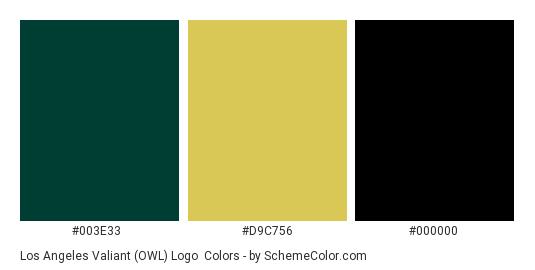 Los Angeles Valiant (OWL) Logo - Color scheme palette thumbnail - #003E33 #D9C756 #000000