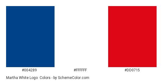 Martha White Logo - Color scheme palette thumbnail - #004289 #ffffff #dd0715