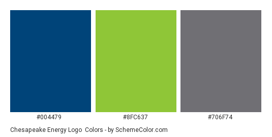 Chesapeake Energy Logo - Color scheme palette thumbnail - #004479 #8fc637 #706f74