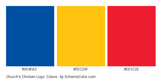 Church's Chicken Logo - Color scheme palette thumbnail - #004fa3 #fec20f #ed1c2e