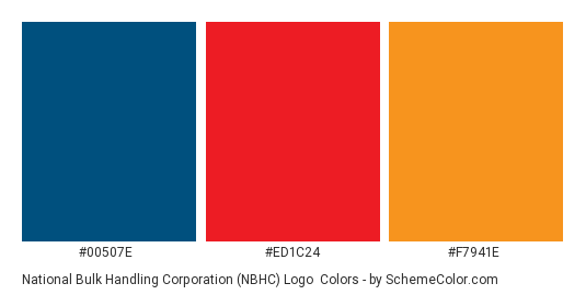 National Bulk Handling Corporation (NBHC) Logo - Color scheme palette thumbnail - #00507e #ed1c24 #f7941e