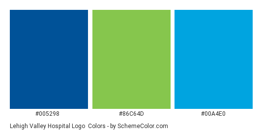 Lehigh Valley Hospital Logo - Color scheme palette thumbnail - #005298 #86c64d #00a4e0