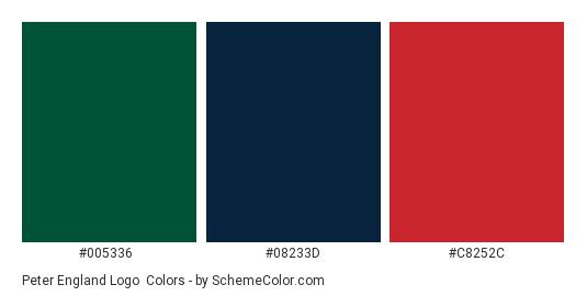 Peter England Logo - Color scheme palette thumbnail - #005336 #08233d #c8252c