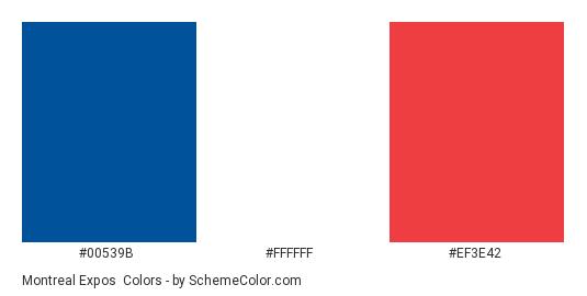Montreal Expos - Color scheme palette thumbnail - #00539b #FFFFFF #ef3e42