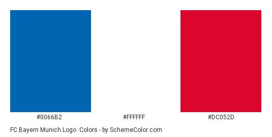 FC Bayern Munich Logo - Color scheme palette thumbnail - #0066b2 #ffffff #dc052d