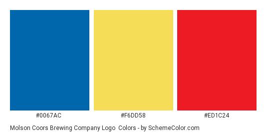Molson Coors Brewing Company Logo - Color scheme palette thumbnail - #0067ac #f6dd58 #ed1c24