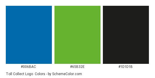 Toll Collect Logo - Color scheme palette thumbnail - #006bac #65b32e #1d1d1b