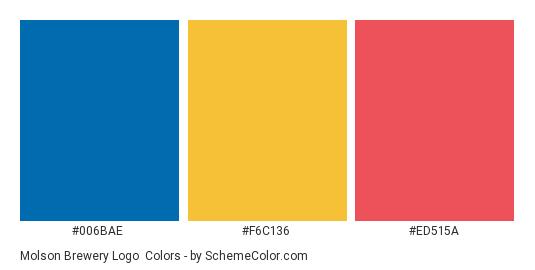 Molson Brewery Logo - Color scheme palette thumbnail - #006bae #f6c136 #ed515a