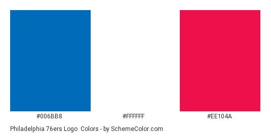 Philadelphia 76ers Logo - Color scheme palette thumbnail - #006bb8 #ffffff #ee104a
