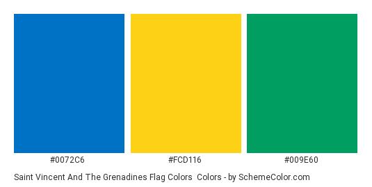 Saint Vincent and the Grenadines Flag Colors - Color scheme palette thumbnail - #0072C6 #FCD116 #009E60