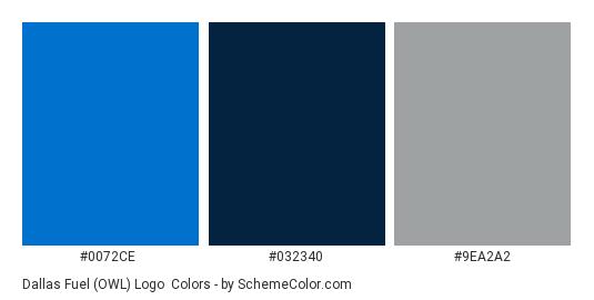 Dallas Fuel (OWL) Logo - Color scheme palette thumbnail - #0072CE #032340 #9EA2A2