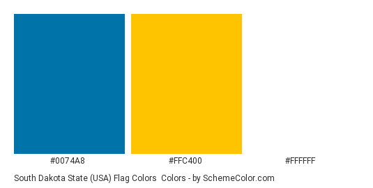South Dakota State (USA) Flag Colors - Color scheme palette thumbnail - #0074a8 #ffc400 #ffffff