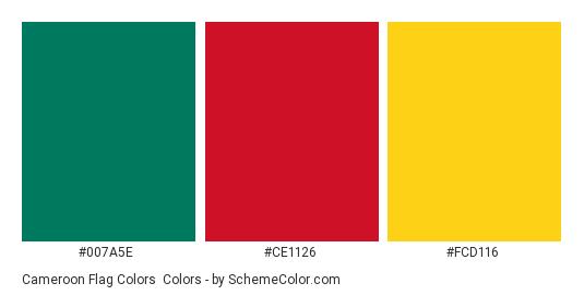 Cameroon Flag Colors - Color scheme palette thumbnail - #007a5e #ce1126 #fcd116