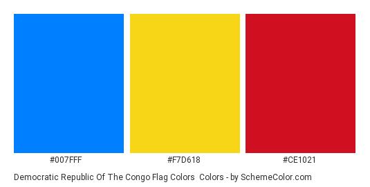 Democratic Republic of the Congo Flag Colors - Color scheme palette thumbnail - #007fff #f7d618 #ce1021