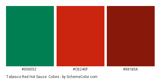 Tabasco Red Hot Sauce - Color scheme palette thumbnail - #008052 #cb240f #88180A